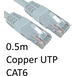 RJ45 (M) to RJ45 (M) CAT6 0.5m White OEM Moulded Boot Copper UTP Network Cable - Image 2