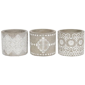 Grey Pattern Candle Holder Pack Of 3