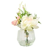 Peony in Ridged Clear Glass Vase Hand Tied