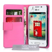 Yousave LG L40 Leather-Effect Wallet Case - Hot Pink