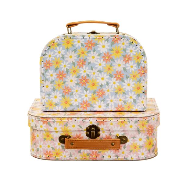 Sass & Belle Pink Daisy (Set of 2) Suitcases