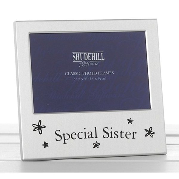 Satin Silver Occasion Frame Special Sister 5x3