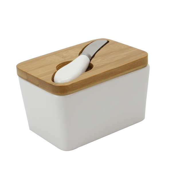 Porcelain Butter Dish with Knife | M&W