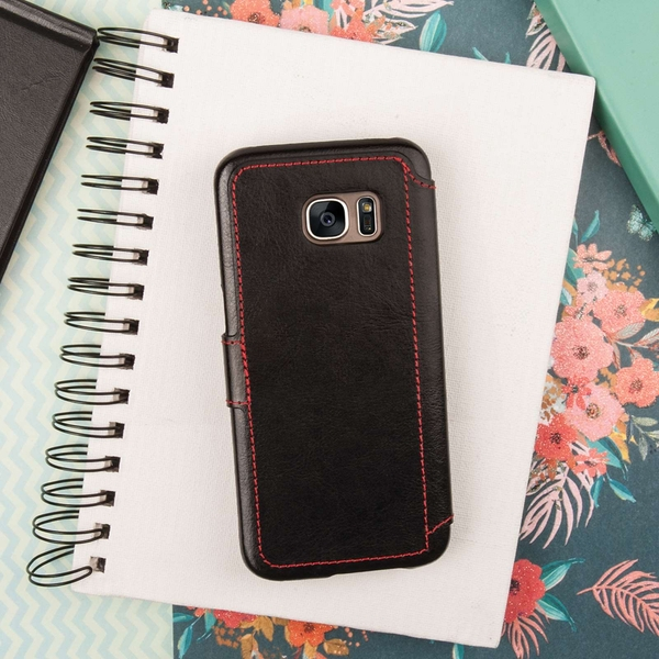 Caseflex Samsung Galaxy S7 Leather-Effect Wallet Case - Black with Red Lining (Retail Box) - Image 3