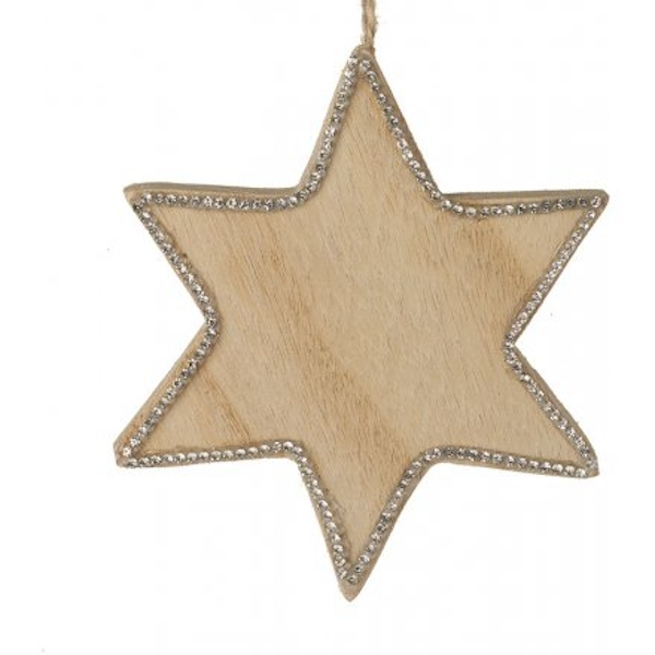 Natural Wood Hanging Star With Glitter Edge 10cm