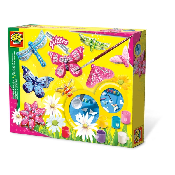 SES Creative - Children's Butterfly Glitter Casting and Painting Set 3-12 Years (Multi-colour)