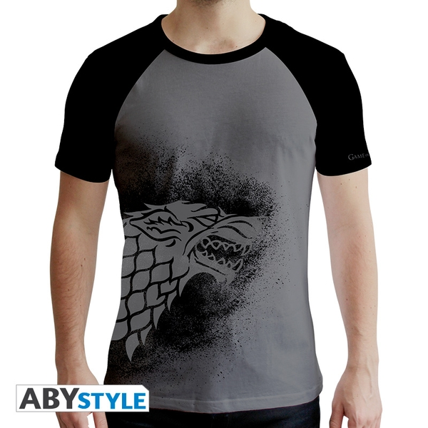 Game Of Thrones - Stark Men's Medium T-Shirt - Black and Grey