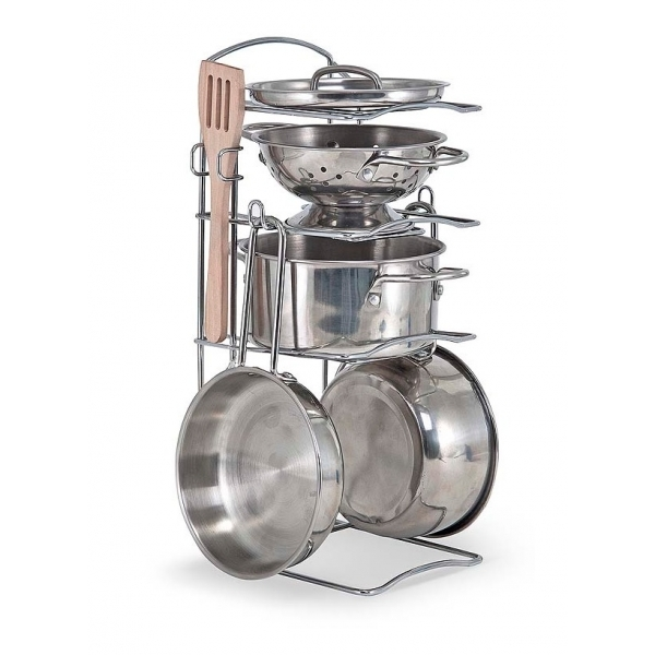 Let's Play House! Stainless Steel Pots and Pans Play Set
