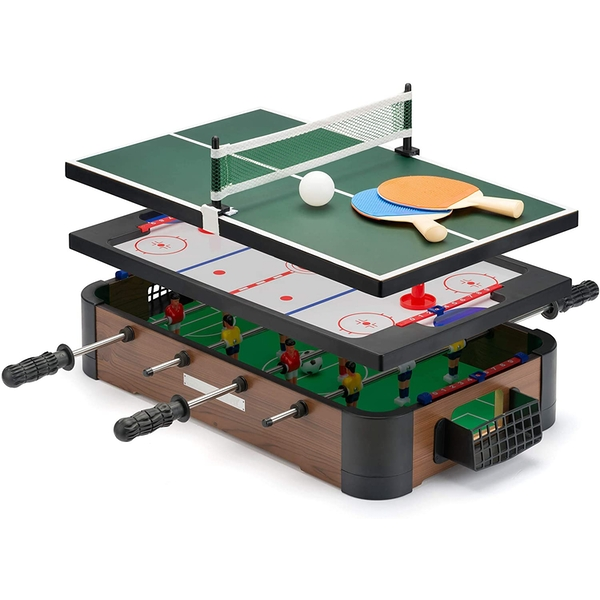 Power Play TY6155 Powerplay 3 in 1 Top Games, Mini Football, Hockey and Table Tennis