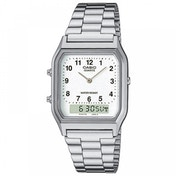 Casio AQ230A-7BMQ Mens Classic Combi Watch with Numeric Digits Silver with White Dial
