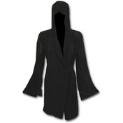 Gothic Elegance Gothic Hooded Robe Wrap Women's Small Hoodie - Black