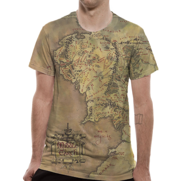 Lord Of The Rings - Middle Earth Map Men\'s Large T-Shirt - Green