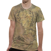Lord Of The Rings - Middle Earth Map Men's Large T-Shirt - Green