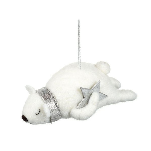 Sleeping Polar Bear With Silver Star Hanging Decoration by Heaven Sends