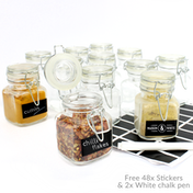 Mini Clip Top Glass Jars | Preserve Jam Spice | Wedding Favours Birthday Gift | Decorative Containers | With FREE Black Labels & White Chalk Pen | M&W (x24)