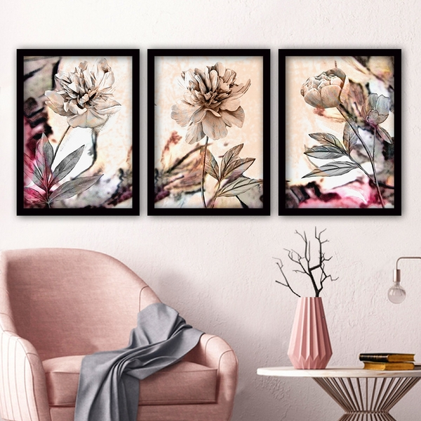 3SC87 Multicolor Decorative Framed Painting (3 Pieces)