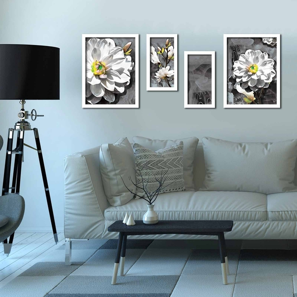 4P3040BCT018 Multicolor Decorative Framed MDF Painting (4 Pieces)