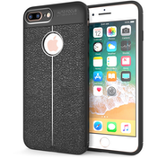 iPhone 8 Plus  Auto Camera Focus Leather Effect Gel Case - Black