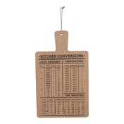 Hanging Cork Board Featuring Kitchen Conversions Chart