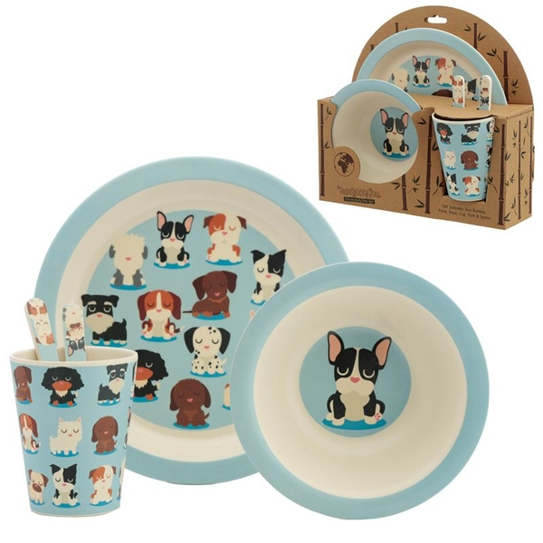 Bambootique Eco Friendly Dog Squad Reusable Bamboo Kids Set