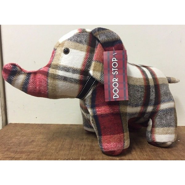 Red Check Elephant Doorstop By Lesser & Pavey