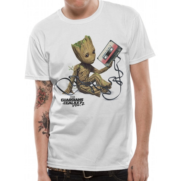 Guardians Of The Galaxy 2 - Groot Tape Unisex Small T-shirt - White