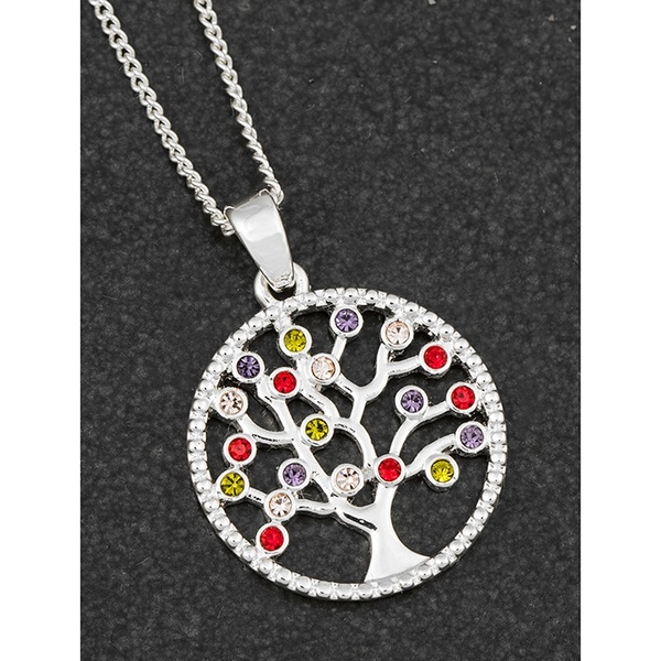 Harlequin Tree of Life Silver Plated Necklace