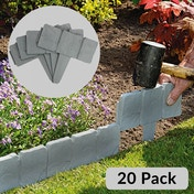 Ex-Display 5m Grey Stone Effect Lawn Grass Edging | Garden Plant Flower Bed Border | M&W Used - Like New