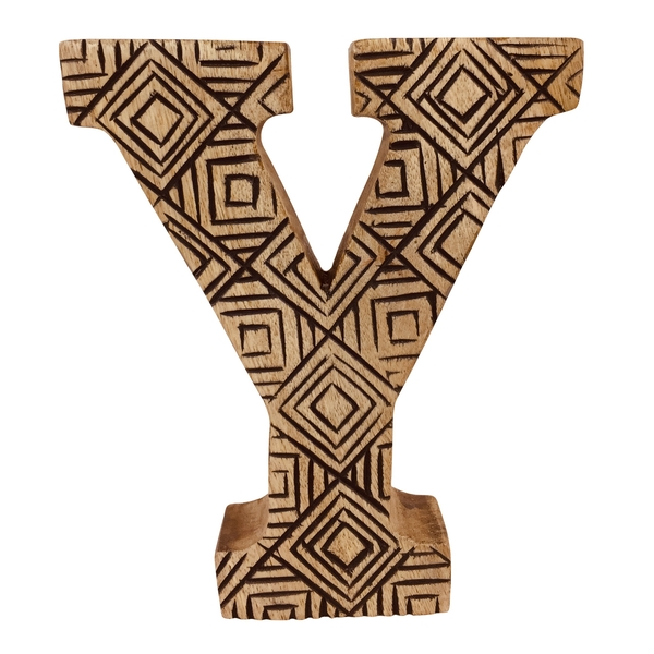 Letter Y Hand Carved Wooden Geometric