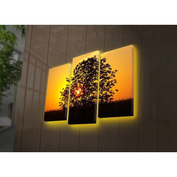 3PATDACT-21 Multicolor Decorative Led Lighted Canvas Painting (3 Pieces)
