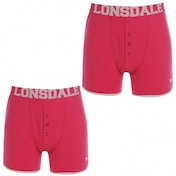Lonsdale 2 Pack Mens Boxers Pink & White Large