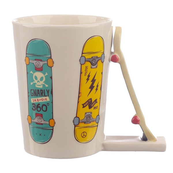 Skateboard Shaped Handle Ceramic Mug