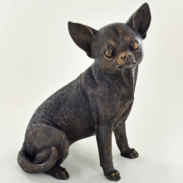 Chihuahua Sitting Cold Cast Bronze Sculpture 18.5cm