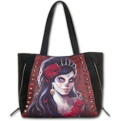 Day of The Dead Pu Leather Studded Tote Bag