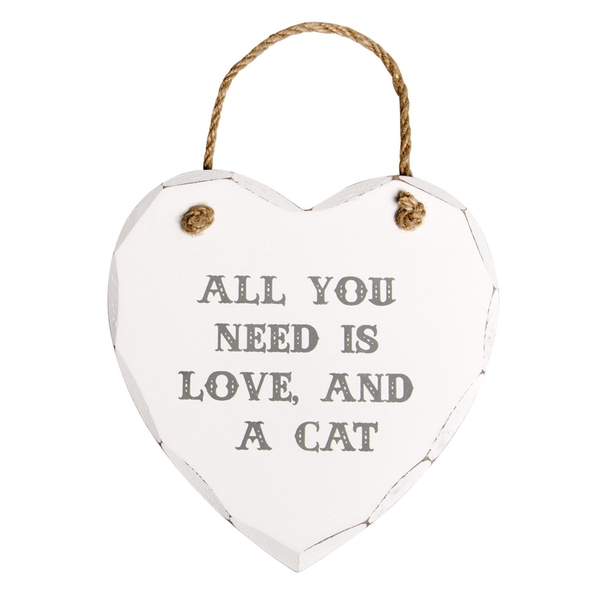 Sass & Belle All You Need Is Love And A Cat Heart Plaque