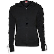 Gothic Rock Laceup Full Zip Glitter Women's Large Hoodie - Black