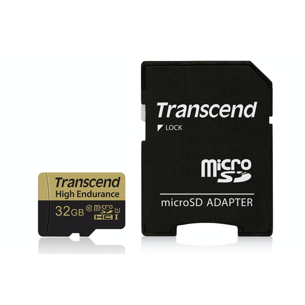 Image of Transcend 32GB UHS-I U1 High Endurance MicroSD Card with Adapter