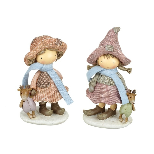 Standing Girls With Fox & Reindeer Decoration by Heaven Sends (Set of 2)