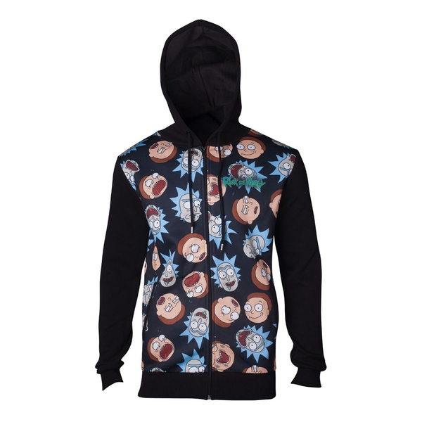Rick And Morty - Character Faces Pattern Sublimation Print Men's X-Large Hoodie - Black