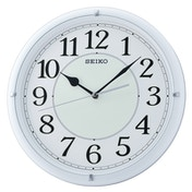 Seiko QXA734W Luminous Dial Wall Clock with Arabic Numerals - Matt White