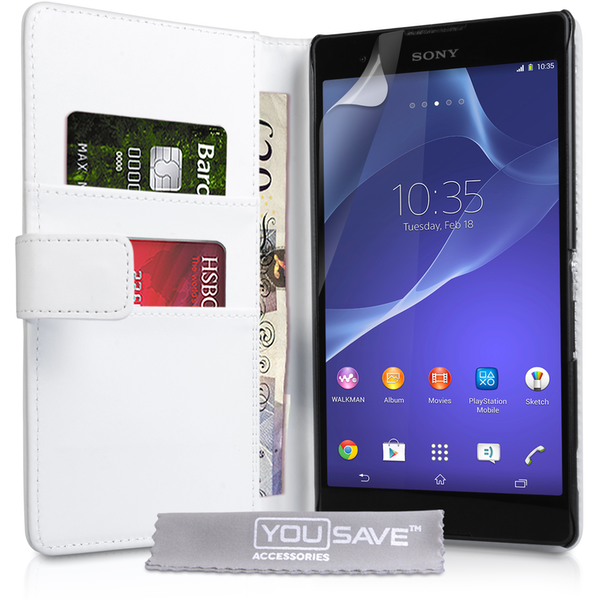 YouSave Accessories Sony Xperia T2 Ultra Leather-Effect Wallet Case - White
