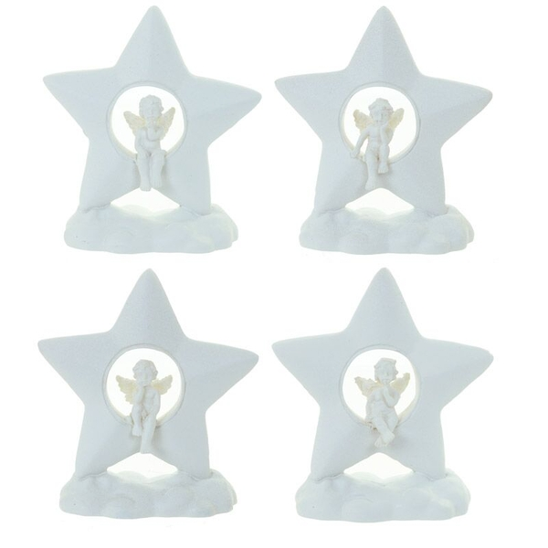 Cherub Cloud and Star (Pack Of 4) Figurine