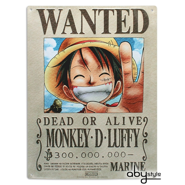 One Piece - Luffy Wanted (28 x 38cm) Metal Plate
