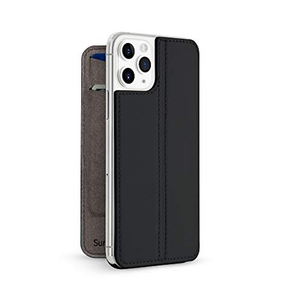 Twelve South SurfacePad for iPhone 11 Pro   Ultra-slim luxury Napa Leather Cover + display Stand with Sleep/Wake (Black)