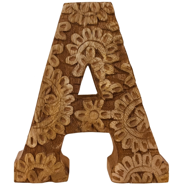 Letter A Hand Carved Wooden Flower