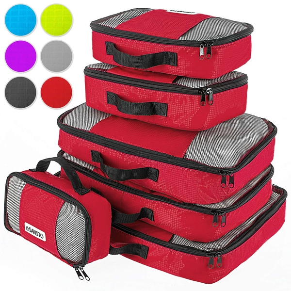 Savisto Packing Cubes Suitcase Organiser 6-Piece Set - Red - Image 1