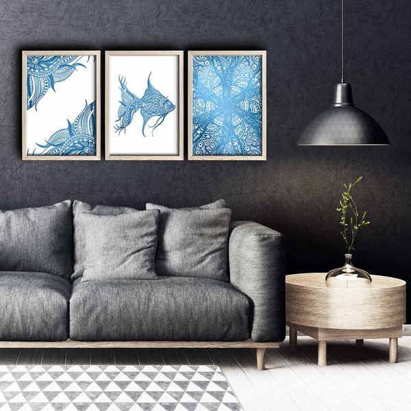3PKCT-009 Multicolor Decorative Framed MDF Painting (3 Pieces)