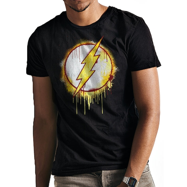 The Flash - Splatter Logo Men's Large T-Shirt - Black