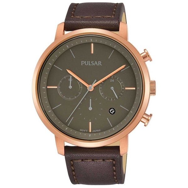 Pulsar PT3940X1 Mens Brown Leather Strap Chronograph Rose Gold Case 100M Watch