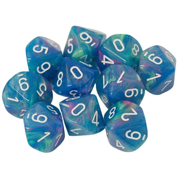 Chessex d10 Dice Set: Festive Waterlily/White (10)